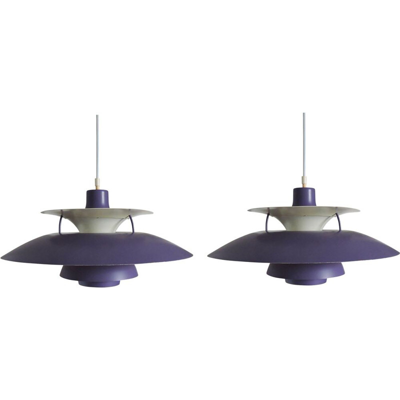 Pair of vintage hanging lamps Purple PH5 by Poul Henningsen for Louis Poulsen, 1950s