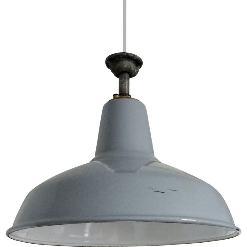 Vintage hanging lamp Industrial Grey, 1950s