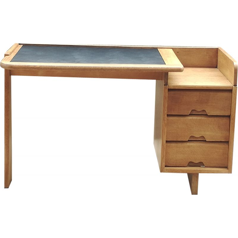 Vintage desk in solid oak by Guillerme and Chambron