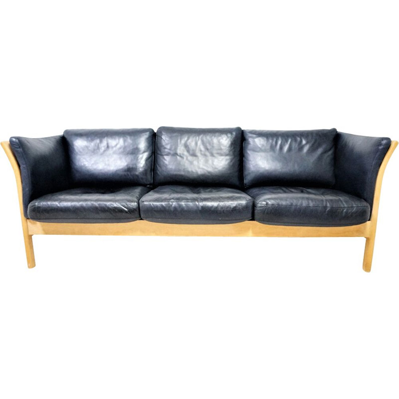 Scandinavian 3-seater sofa in black leather