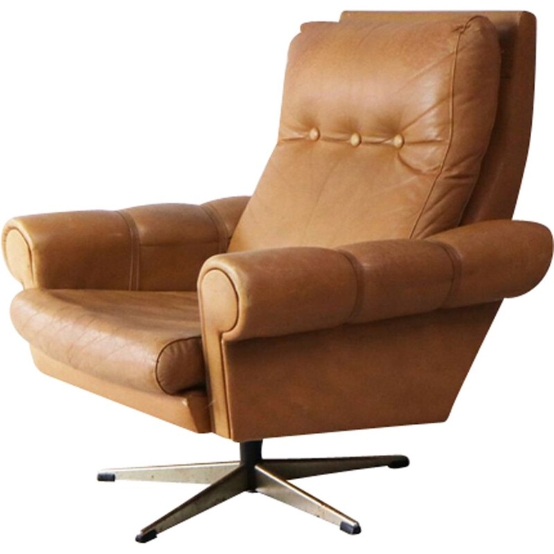 Vintage Swivel Lounge Chair Leather, Danish 1960s