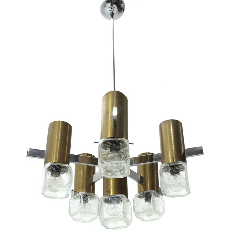 Vintage chandelier in brass, glass and chrome, Italy, 1970s