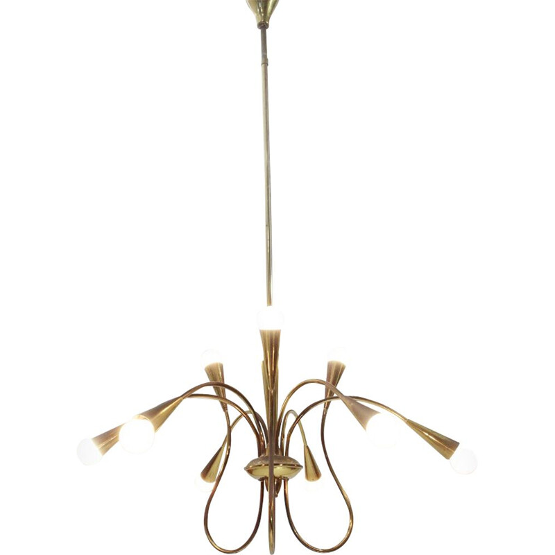 Vintage chandelier in brass, Italian 1950s
