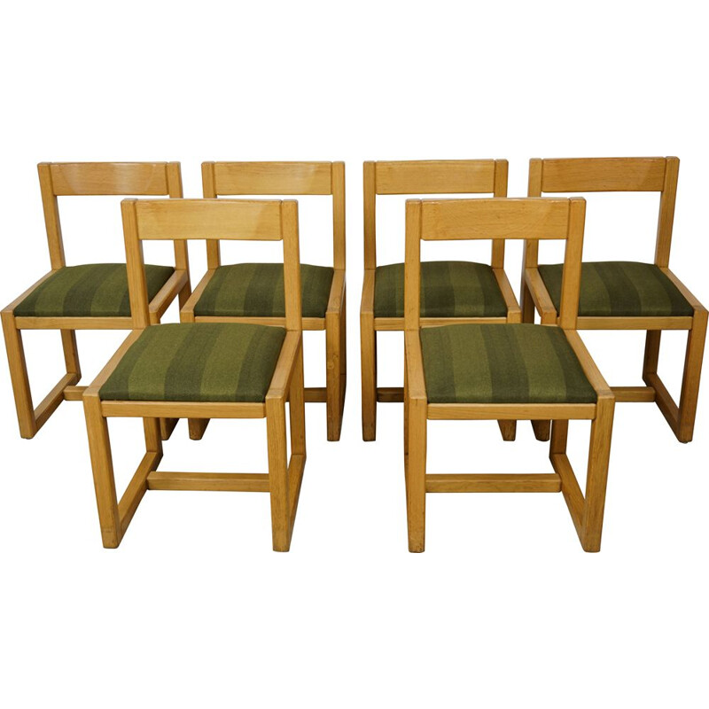 Set of 6 vintage chairs in wooden and fabric