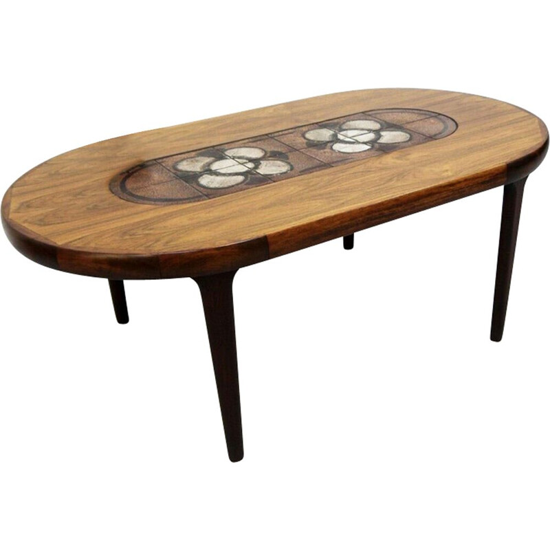 Vintage coffee table in rosewood and lava rock, Scandinavian 1960s