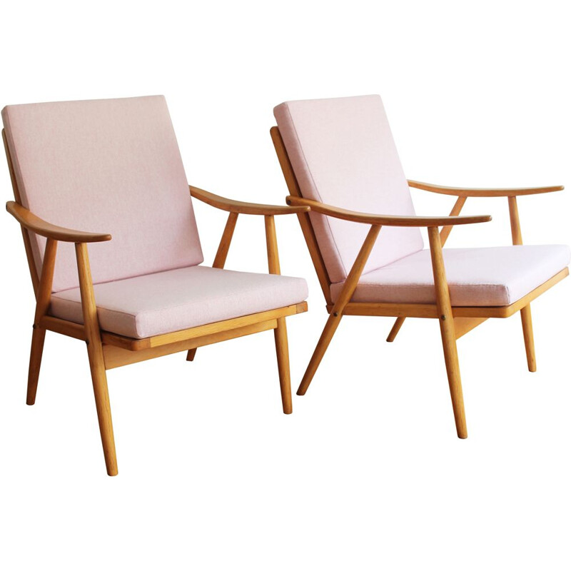 Pair of vintage armchairs pink by Interier Praha 1960s