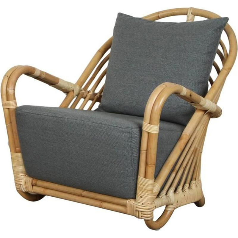 Vintage armchair AJ237 in rattan by Arne Jacobsen , 1930s
