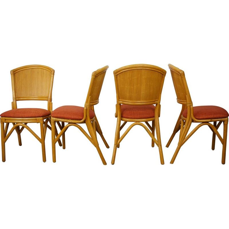 Set of 4 vintage chairs in rattan, 1960s