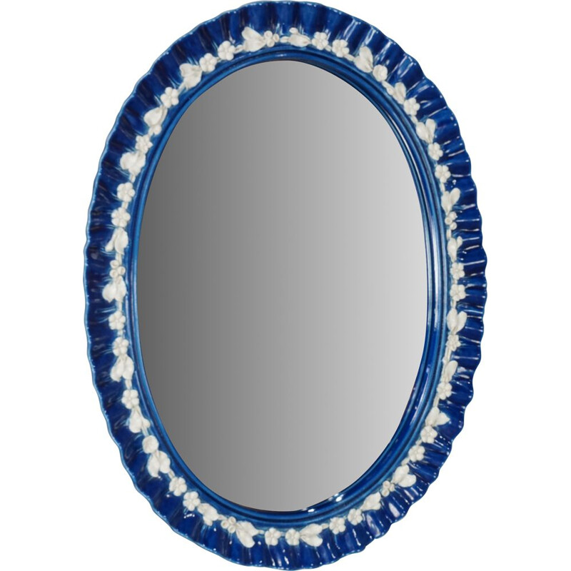 Vintage mirror Blue ceramic, Italian