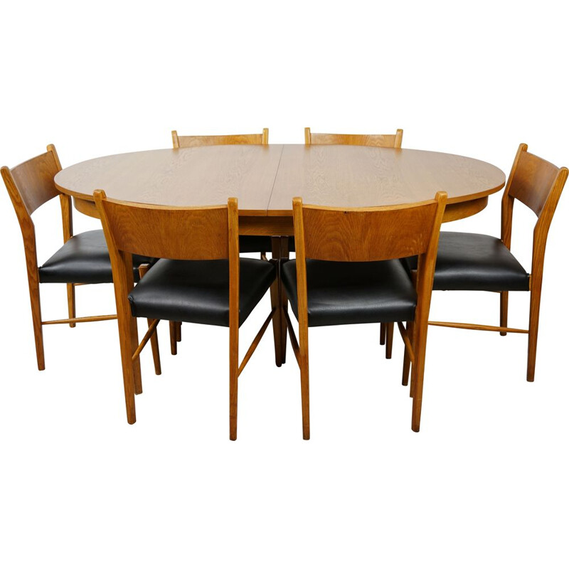 Vintage dining set, oval table and 6 chairs, 1960s
