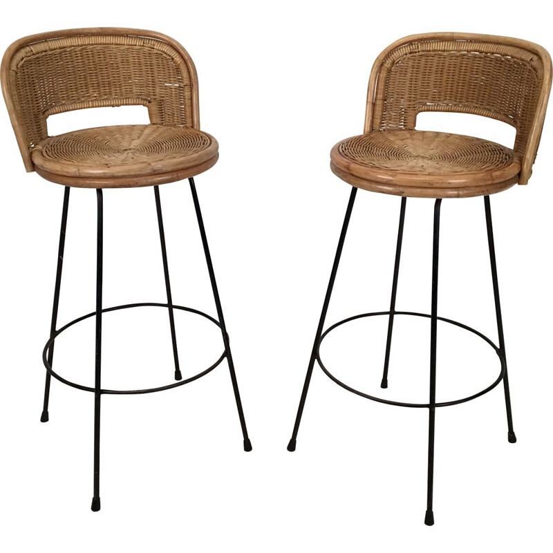 Pair of vintage Stools Wicker and Iron by Seng, Chicago, c.1950