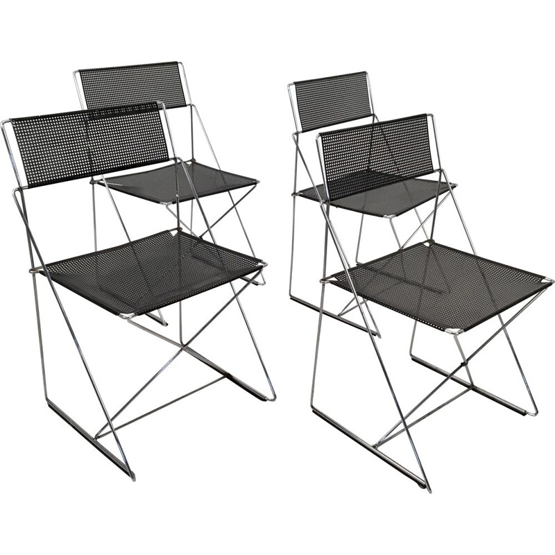 Set of 4 vintage chairs X-Line by Niels Jørgen Haugesen for Hybodan, Denmark c.1970