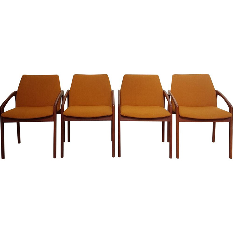 Set of 4 vintage dining chairs in teak, Paper Knife by Kai Kristiansen, Danish