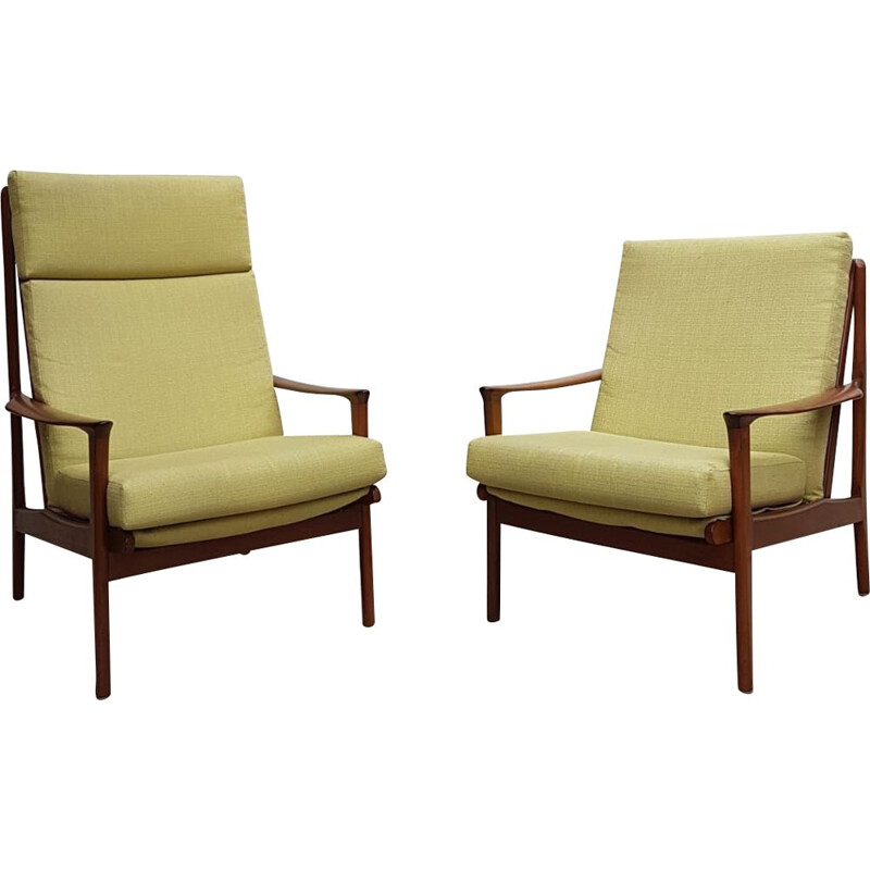 Pair Of Vintage Lounge Chairs in Teak and Linen, Australian