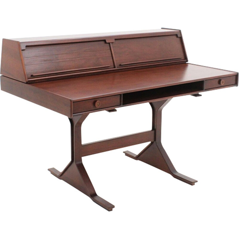 Vintage writing desk in rosewood model 530 by Gianfranco Frattini for Bernini, Italy 1957