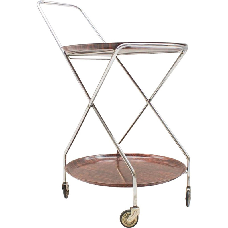 Vintage Serving Cart Folding Chrome & Rosewood from PK, 1960s
