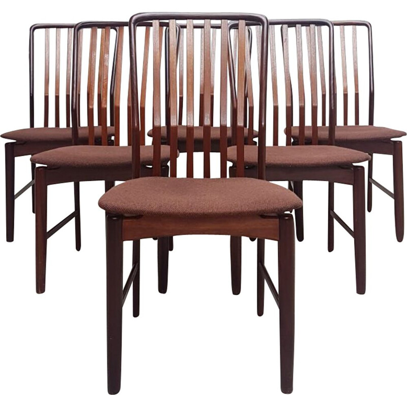 Set of 6 vintage dining chairs in Walnut and Teak by Svend Aage Madsen Danish