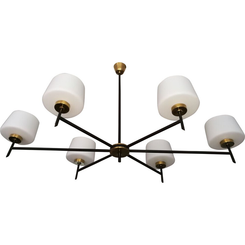 Vintage chandelier brass black metal and opaline 1960s