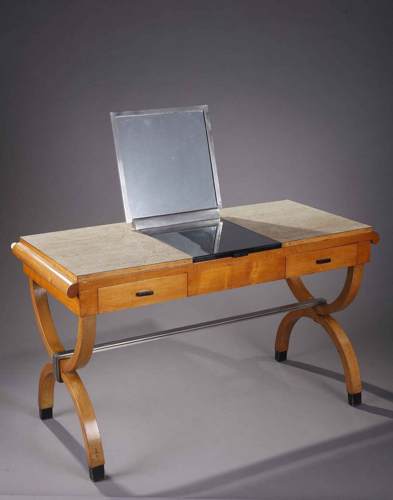 Vintage dressing table in birch blackened wood and chrome ...