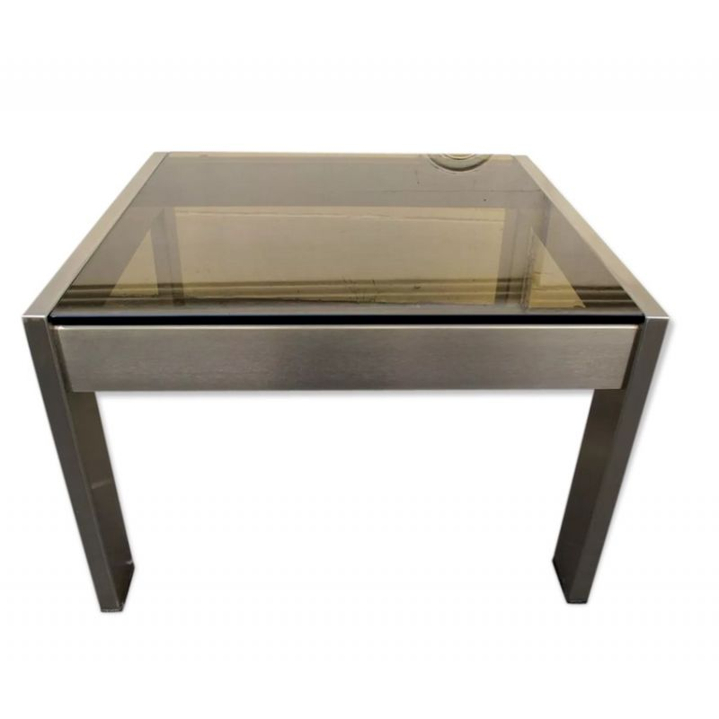 Vintage Square Coffee Table Smoked Glass And Brushed Metal 1970