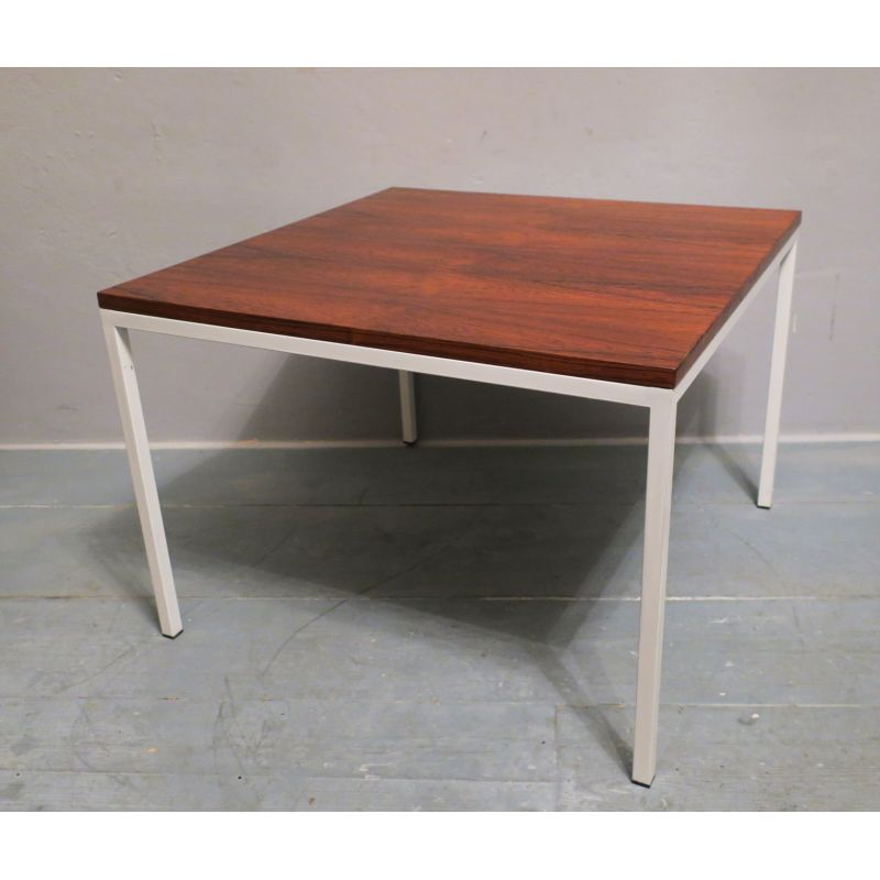 Vintage Coffee Table In Rosewood Square With White Lacquered Metal Legs 1970