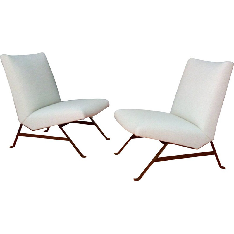 Pair of vintage low chairs, 1950s