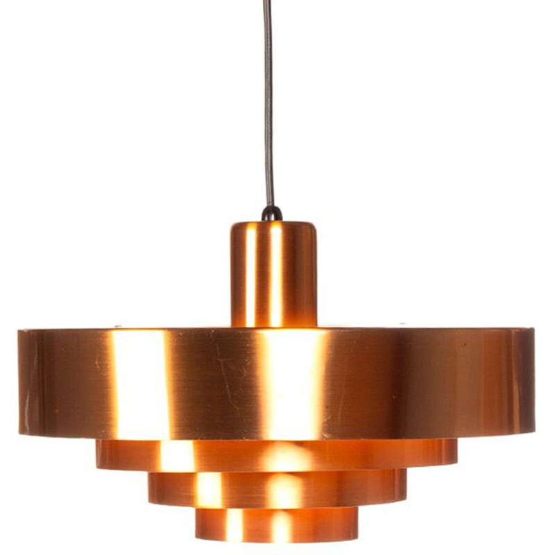 Vintage Danish Roulet hanging lamp in copper by Jo Hammerborg for Fog & Mørup