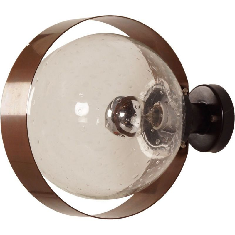 Vintage wall lamp in clear glass and copper