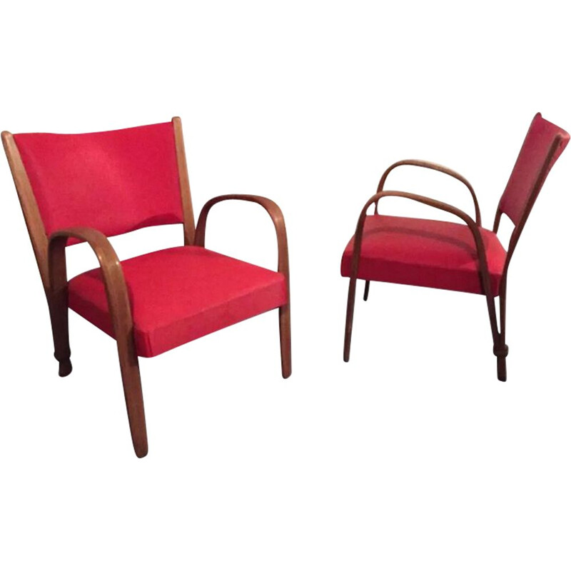 2 Red Steiner Bow Wood Chair, 1960