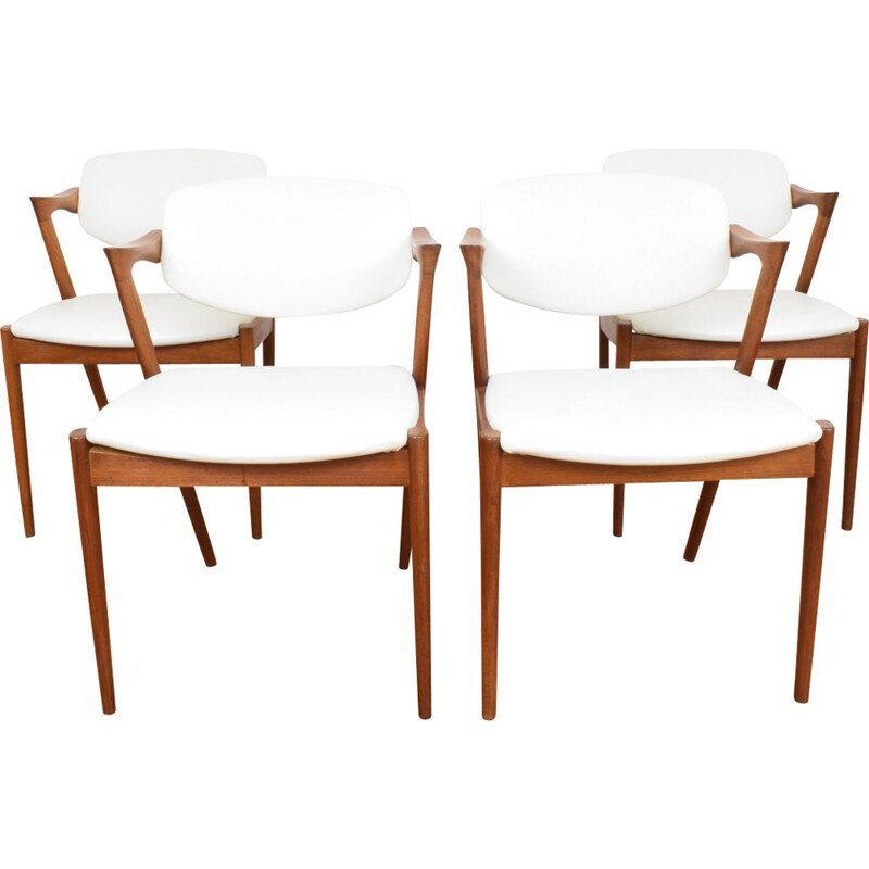 Set of 4 vintage dining chairs Model 42 by Kai Kristiansen for Schou Andersen, 1960s