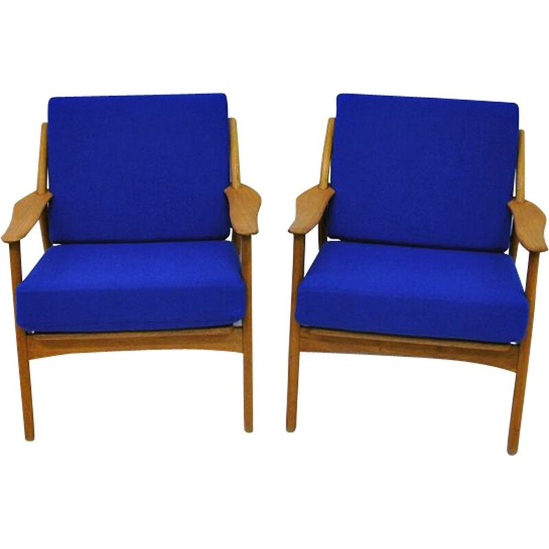 Pair of vintage Danish armchairs in blue fabric Niels Koefoed