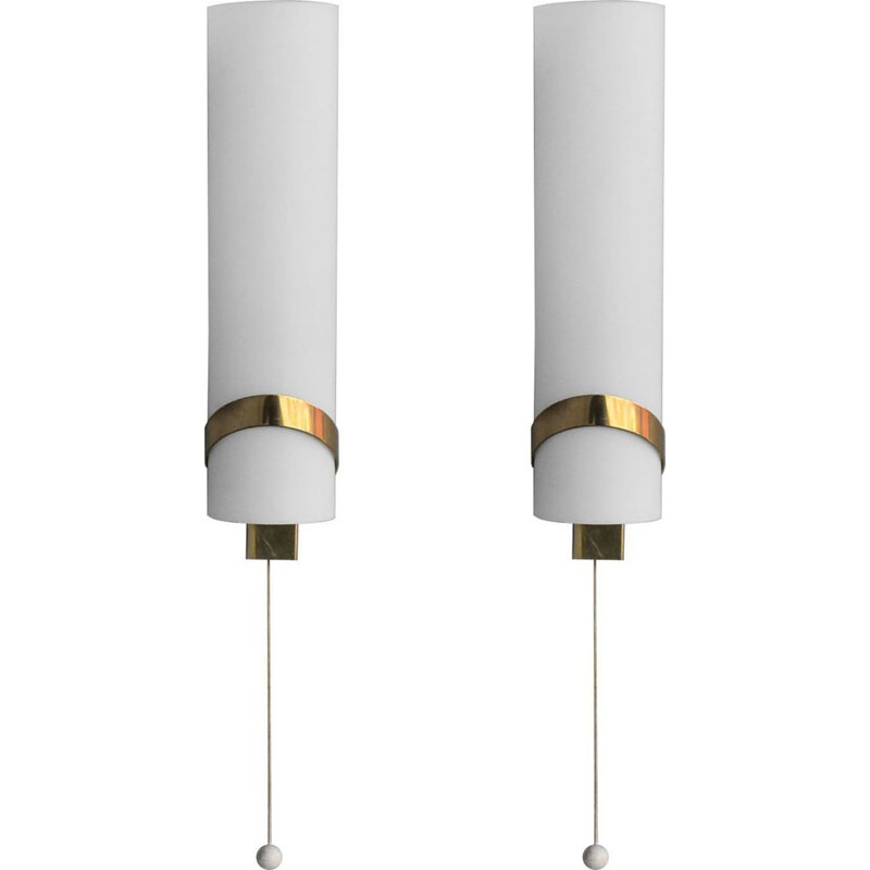Pair of vintage wall lamp in brass by Max Ingrand