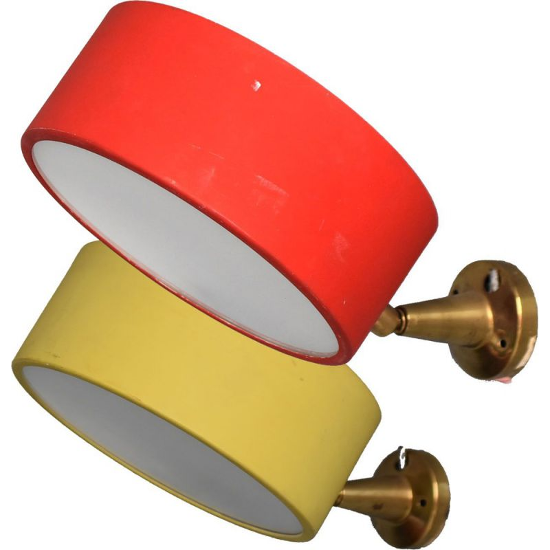Pair of vintage wall lamp in brass