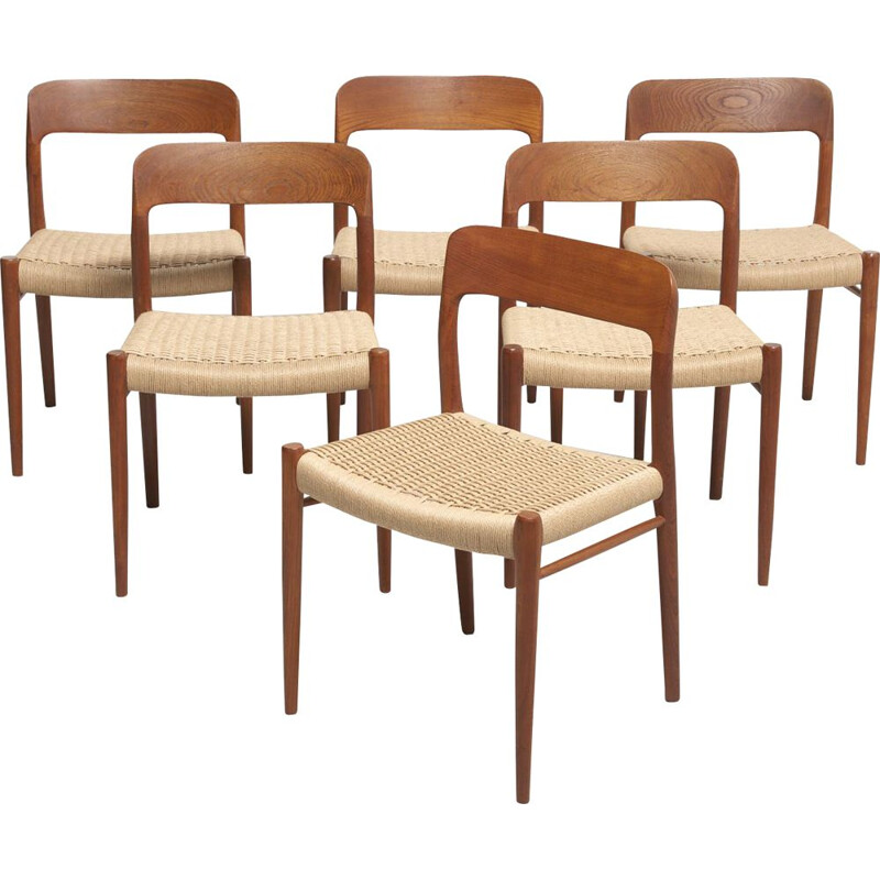 Set of 6 vintage dining chairs model 75 Papercord Niels O. Moller, Denmark, 1954