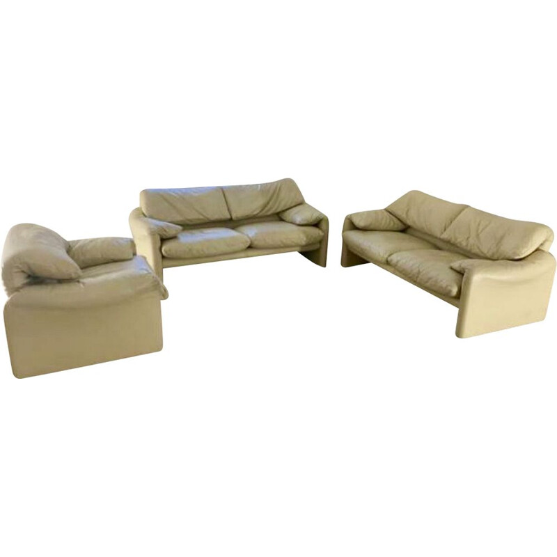 Vintage living room set 3-piece Maralunga Leather by Vico Magistretti for Cassina, Italy