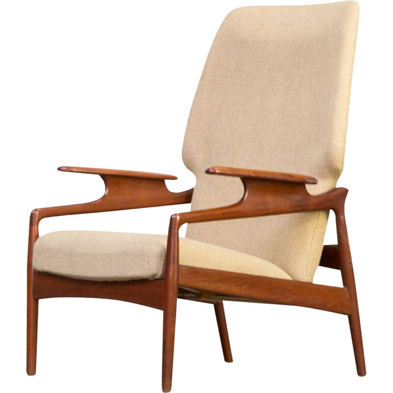 Vintage Lounge Chair in teak and wool adjustable John Boné for Advance Design 1960s