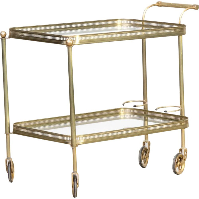 Vintage brass and glass serving trolley Maison Bagués