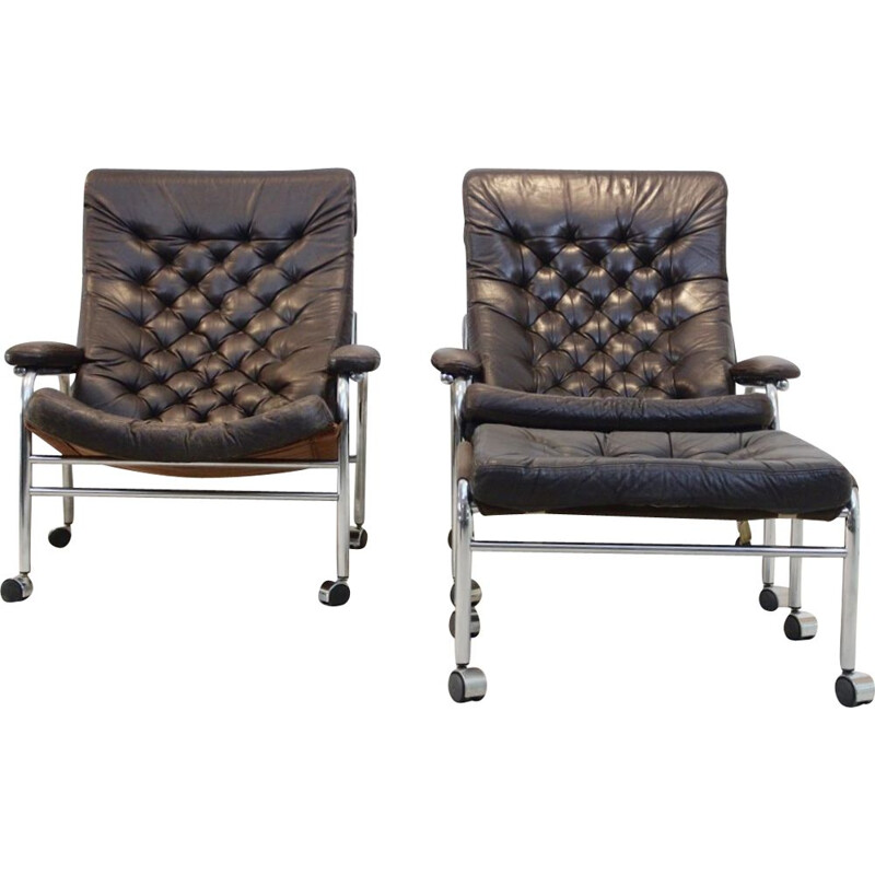 "Pair of vintage Noboru Nakamura ""Bore"" Leather armchairs with footstool,1970"