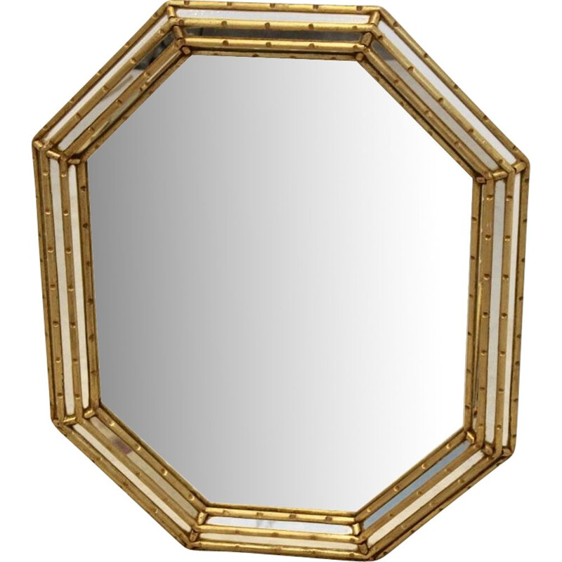 Elegant Giltwood Mid Century Octagon Mirror by Labarge, Italy