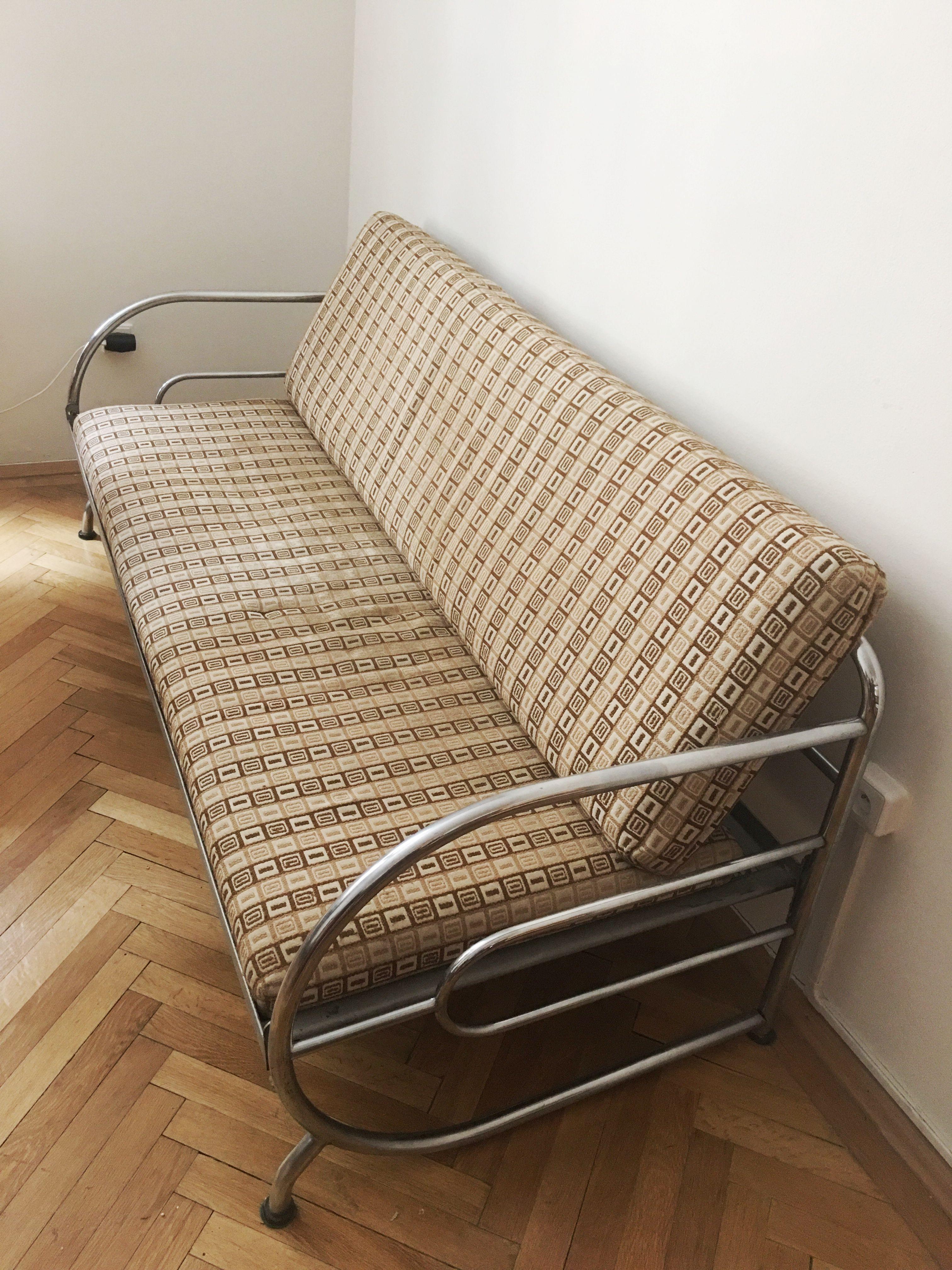 Beige sofa in steel by Robert Slezak - Design Market