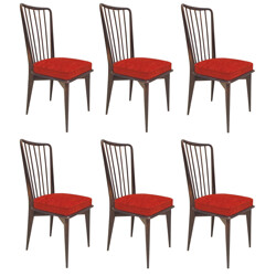 6 dining chairs, Charles RAMOS - 1960s