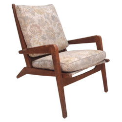 Pair of lounge chairs in oak, Pierre GUARICHE - 1950s