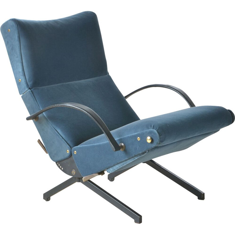 P40 armchair by Osvaldo Borsani in blue velvet