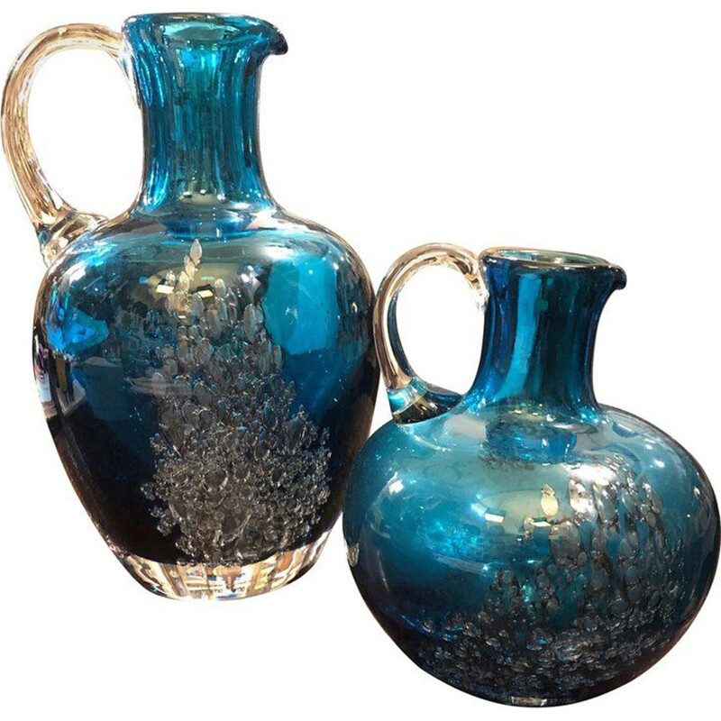 Set of Two Vintage Jugs in Blue Glass by Mdina Glass, circa 1980