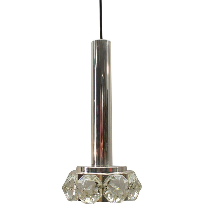 Vintage ceiling lamp Bakalowits & Söhne with Large Glass in Diamonds form, 1970s