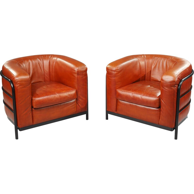 Pair of vintage Onda armchairs for Zanotta in leather 1980