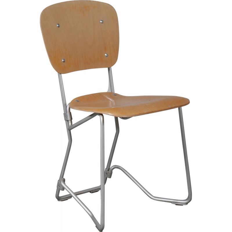 Vintage Aluflex chair by Hans Zollinger Sohre in wood and metal 1950