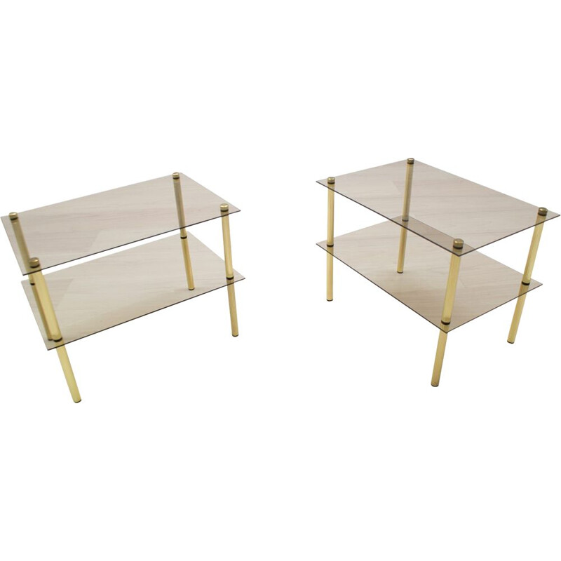 Set of 2 vintage german side tables in smoked glass and brass 1970