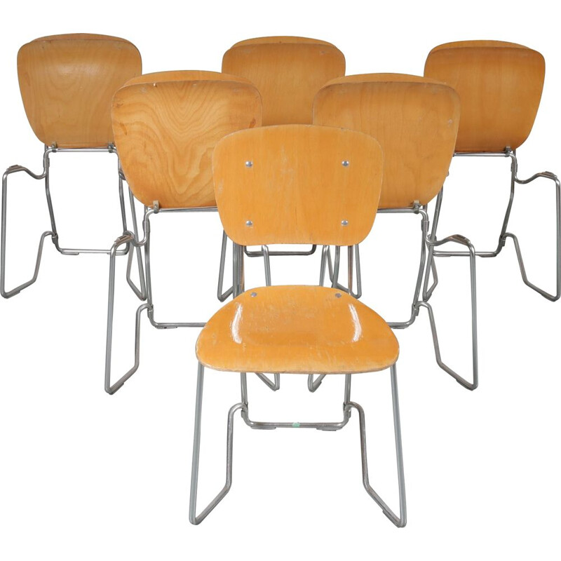 Set of 6 vintage Aluflex chairs by Zollinger Sohre in wood and metal 1950