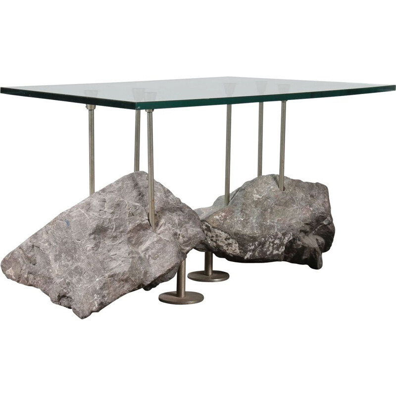 Vintage coffee table with rock base in glass and metal 1980s